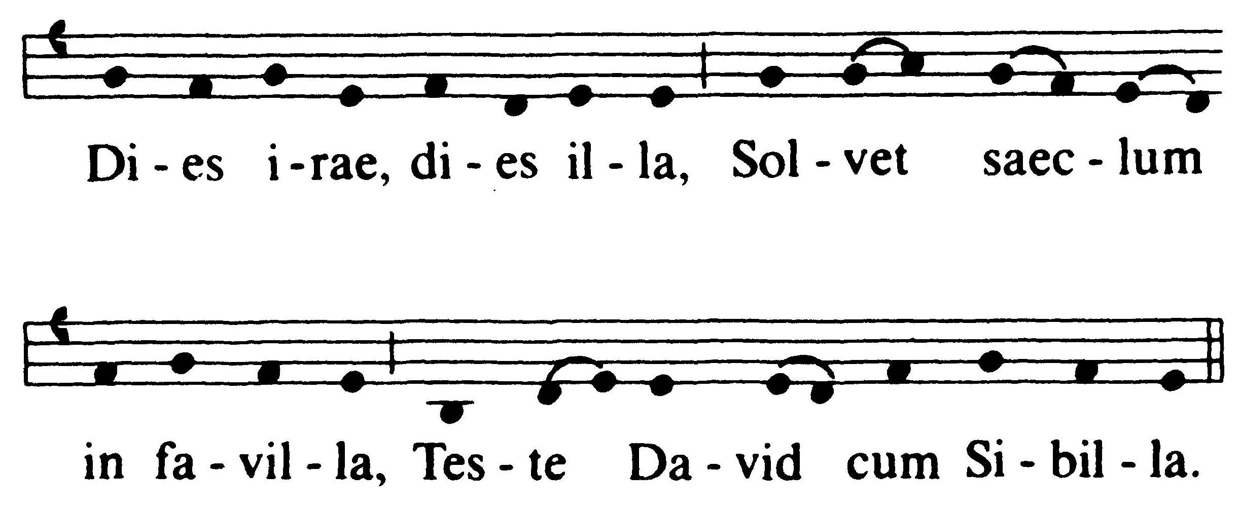Diesiraemusicalnotationg taken from the beginning of the piece the entire hymn consists of this melody ref repeated over and over in modern musical notation the melody looks biocorpaavc Image collections